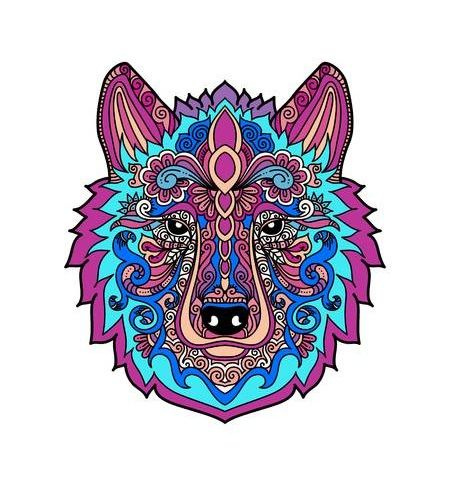 mandala de lobo coloreado