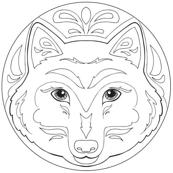 mandala de lobo facil