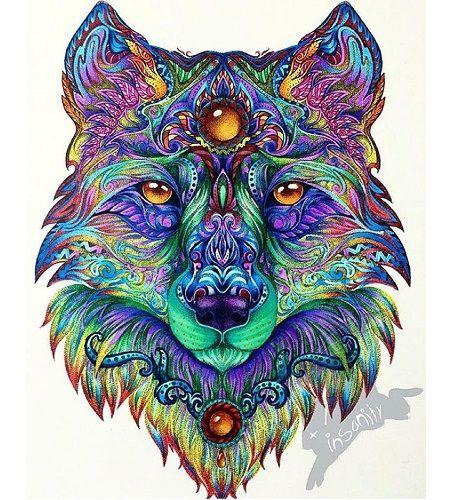 mandala de lobo pintado