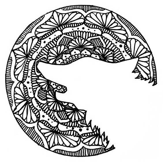 mandala de lobo silueta