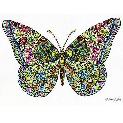 mandala de mariposa a color