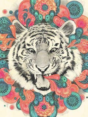 mandala de tigre a color