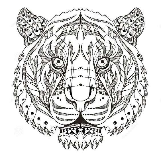 mandala de tigre para colorear
