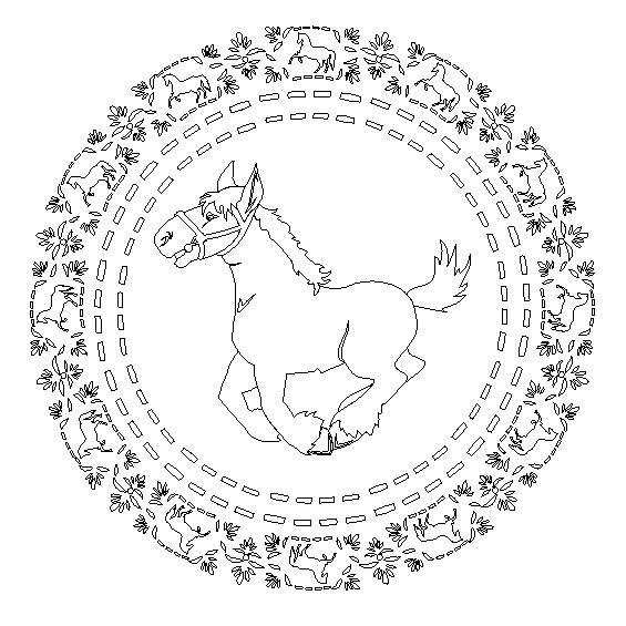 mandala de un caballo para colorear