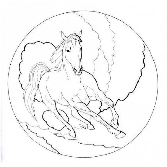 mandala de un caballo para pintar