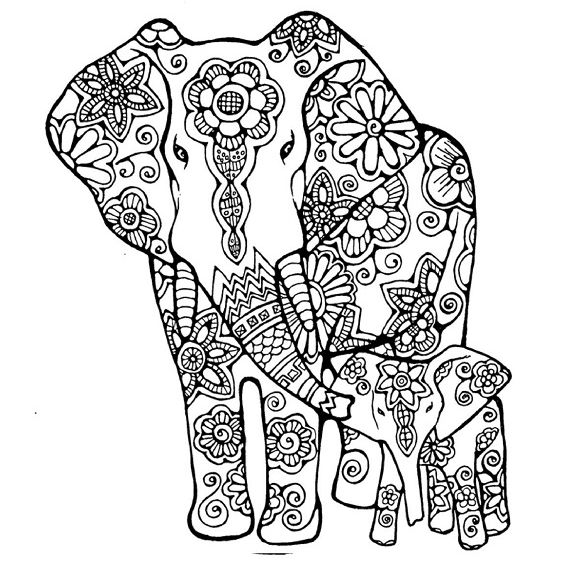 mandala de un elefante para colorear