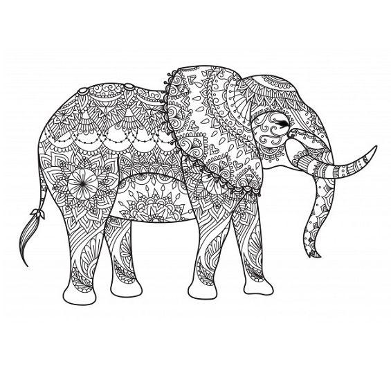 mandala de un elefante para imprimir