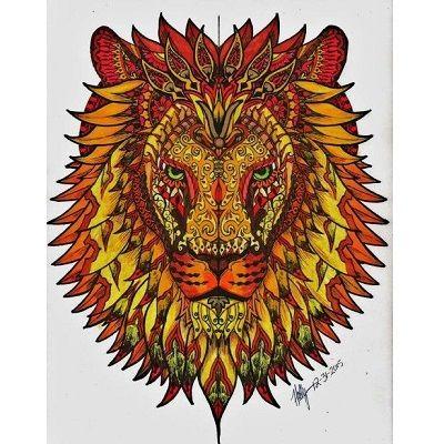 mandala de un leon coloreado
