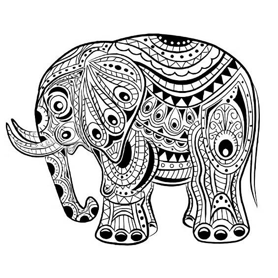 mandala elefante para colorear