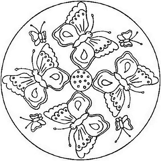 mandalas con mariposas para colorear
