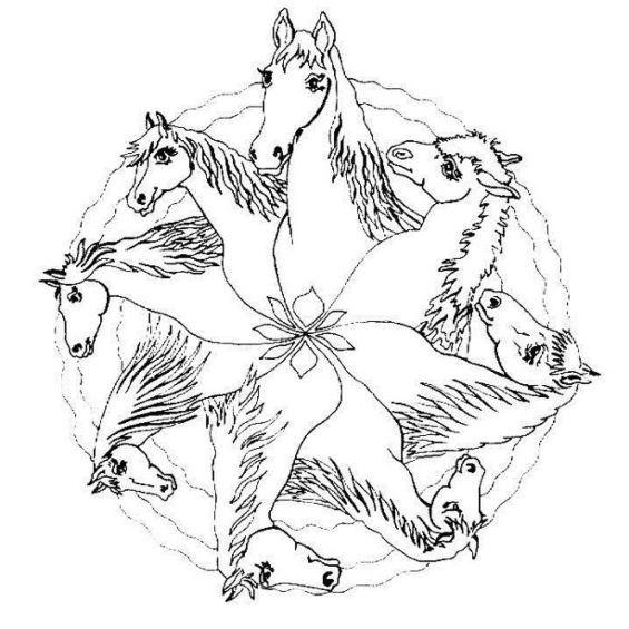 mandalas de caballos faciles