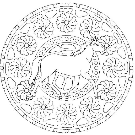 mandalas de caballos para colorear e imprimir