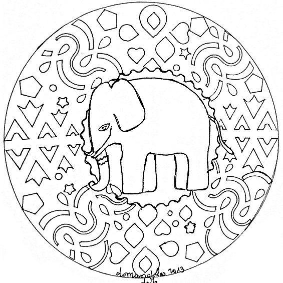 mandalas de elefantes faciles para colorear