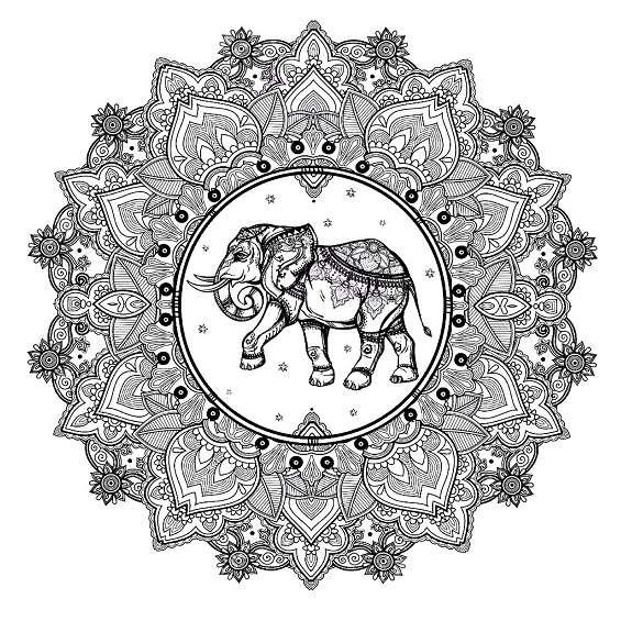 mandalas de elefantes faciles