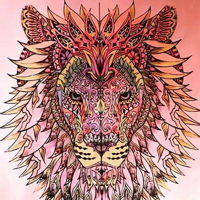 mandalas de leones a color rosa