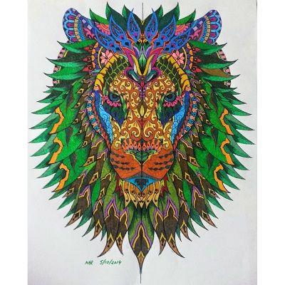 mandalas de leones a color verde
