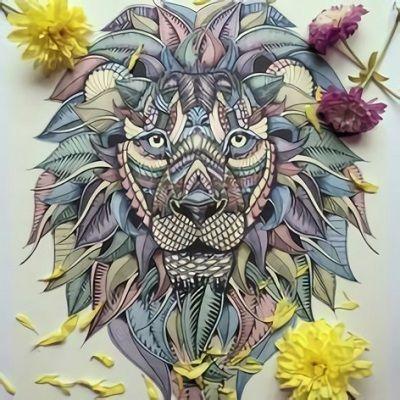 mandalas de leones a color