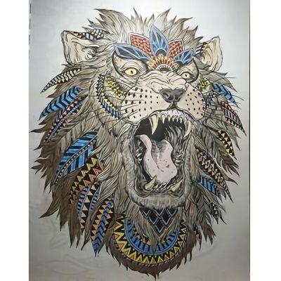 mandalas de leones pintados