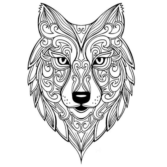 mandalas de lobos para colorear e imprimir