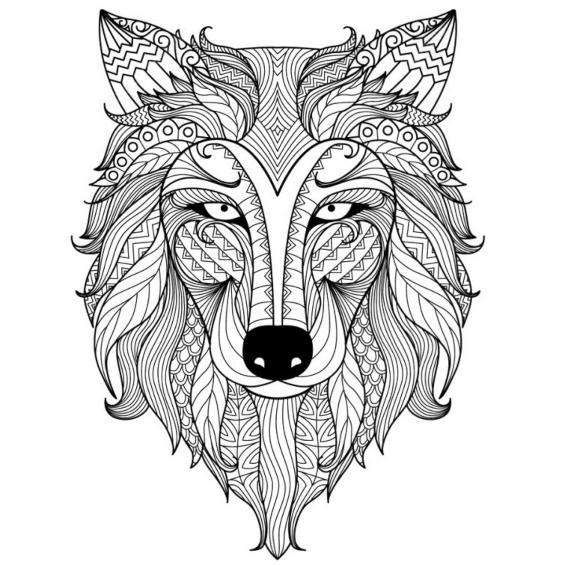 mandalas de lobos para colorear