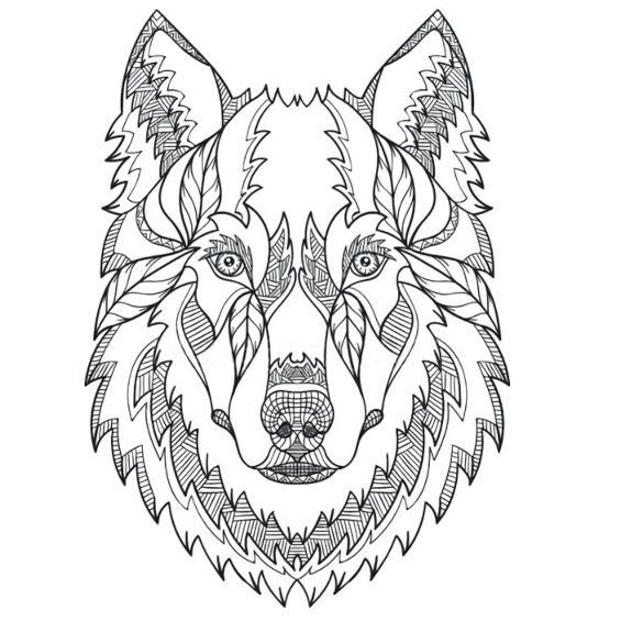 mandalas de lobos para pintar