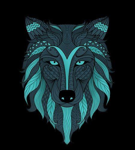 mandalas de lobos pintados