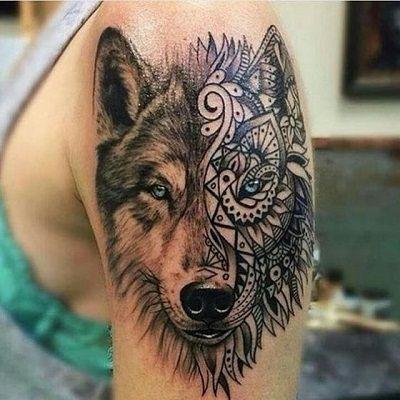 mandalas de lobos tatuaje