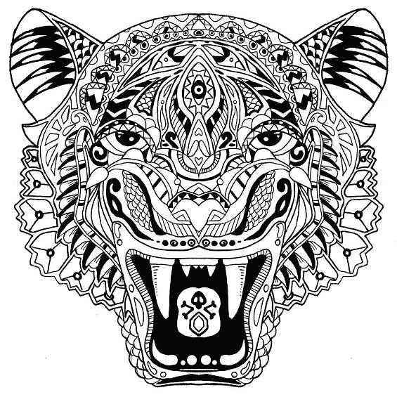 tigre mandala para colorear e imprimir