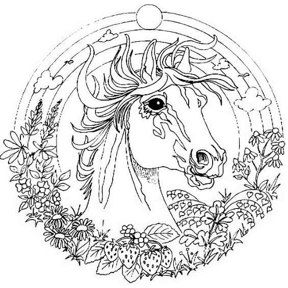 un caballo mandala para colorear