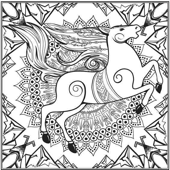 un caballo mandala para pintar