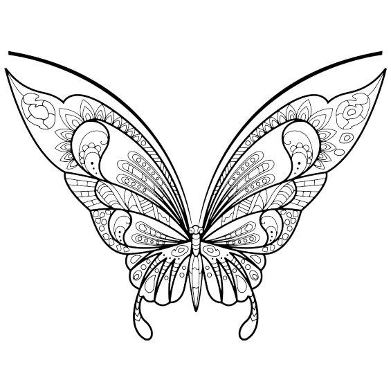 una mariposa mandala para colorear e imprimir