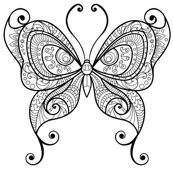 una mariposa mandala para colorear