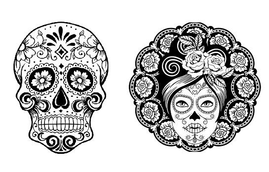 Mandalas de calaveras: Día de Muertos