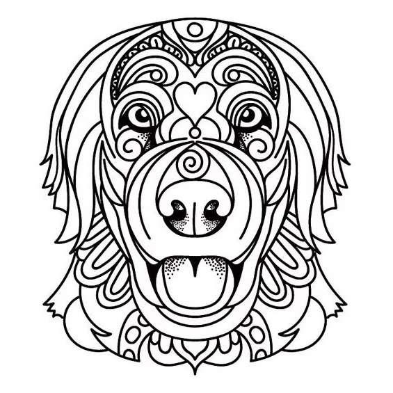 mandala de perros para pintar