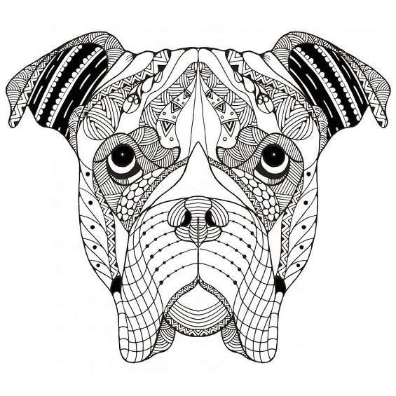 mandala de un perro para colorear e imprimir