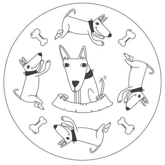 mandala de un perro para colorear