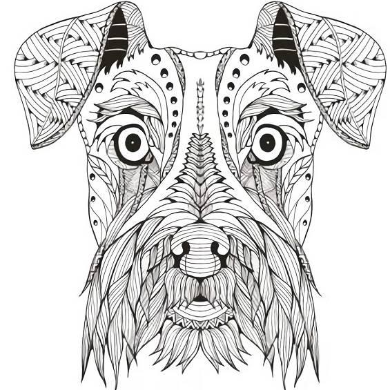 mandala de un perro para imprimir