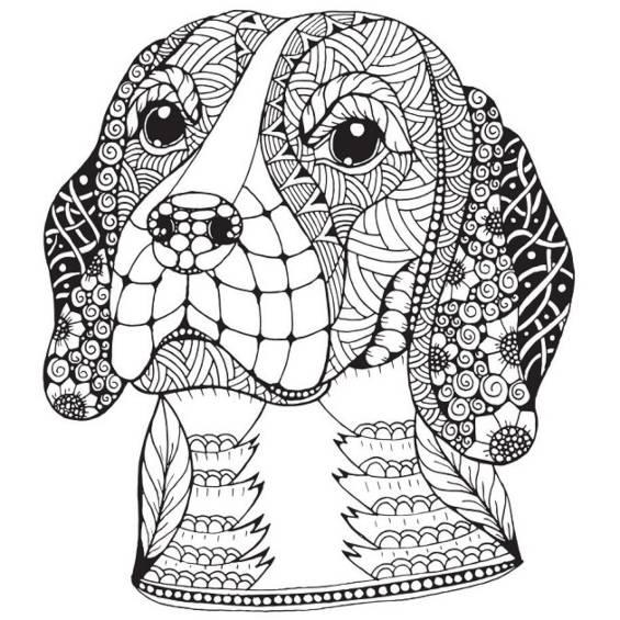 mandala de un perro para pintar