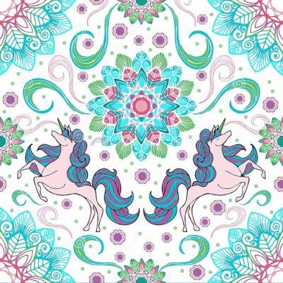 mandala de unicornio a color
