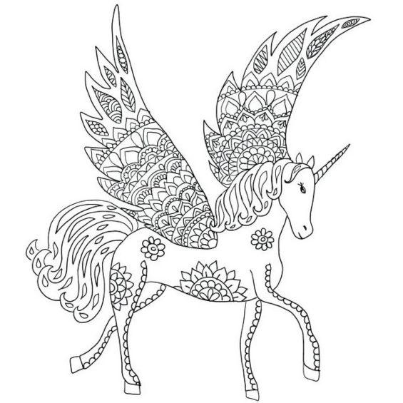 mandala de unicornio facil para imprimir