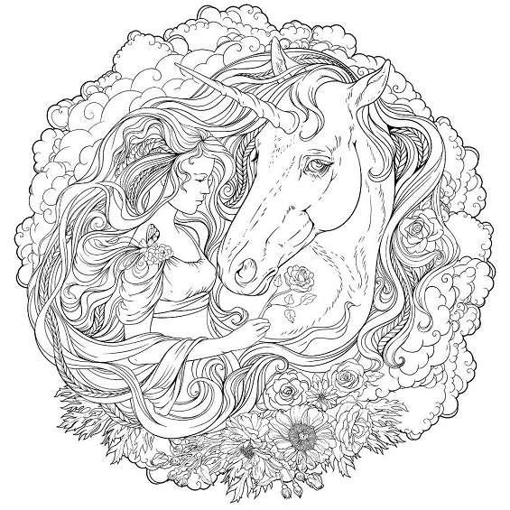 mandala de unicornio para colorear