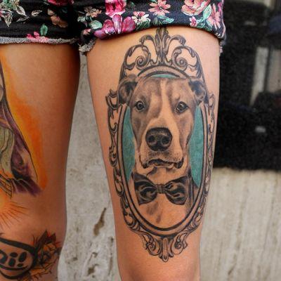 tatuaje de un perro mandala