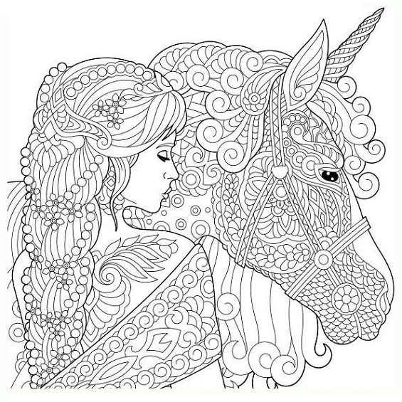un unicornio mandala para colorear