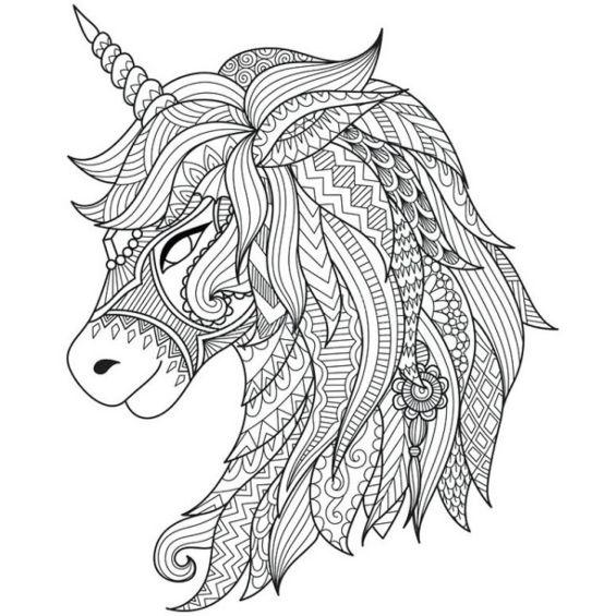 unicornio mandala para pintar