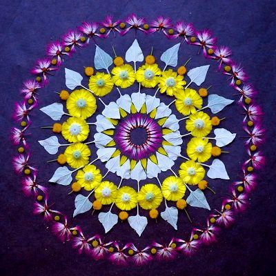 Mandalas hechos con pétalos de flores