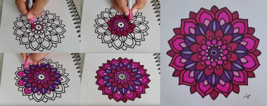 como colorear una mandala paso a paso