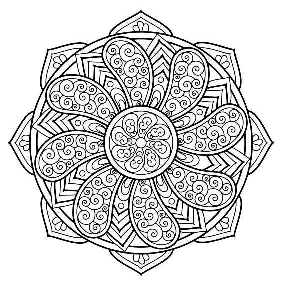 flor mandala para colorear