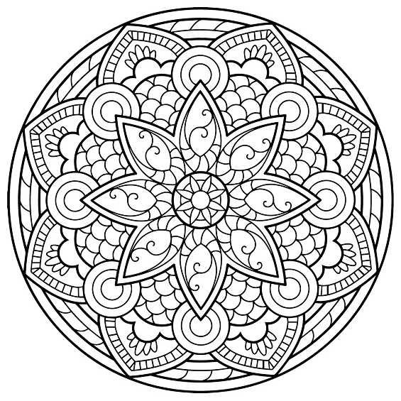 mandala con flores para colorear e imprimir