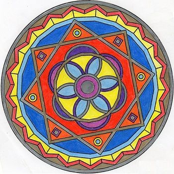 mandala fácil coloreada