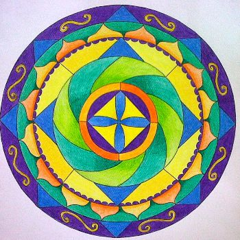 mandala facil coloreada